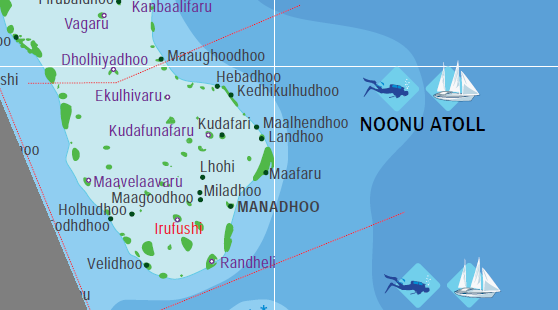 Map of Noonu Atoll Maldives